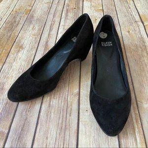 Eileen Fisher Black Velvet Kitten Heel Pumps 7
